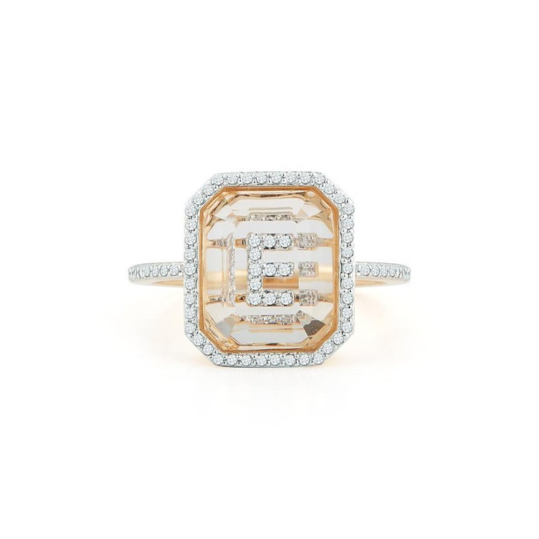 Emerald Cut 14 Karat Gold Diamond Frame Crystal Quartz Secret Diamond Initial Ring For Sale