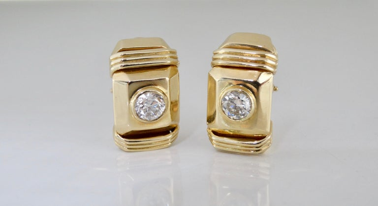 Women's or Men's  Diamond Earrings French Clip  For Sale