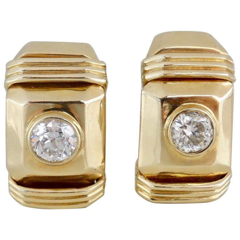 Diamond Earrings French Clip  For Sale