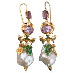 14 Karat Gold Diamonds Amethysts Emeralds and Pearls Italian Earrings