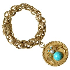 14K Gold Double Chain Link Bracelet with Giant Two Sided Spider and Fly Charm