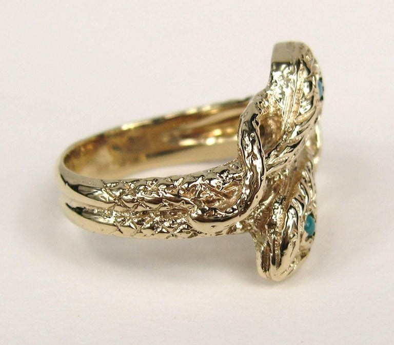 Victorian 14 Karat Gold Double Headed Turquoise Snake Wedding Band Ring For