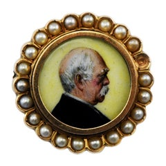 14K Gold Douglas Hyde Ireland Campaign Pin Picture with Pearls 1st Irish Pres