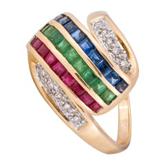 14k Gold Emerald Diamond Ruby Sapphire Ring
