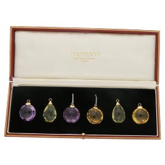 Faceted Gem Interchangeable 14 Karat Gold Earring Set