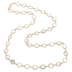 "14k Gold-filled Bezel Set Genuine Coin Pearl 36"" Long Necklace"