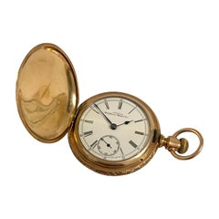 14K Gold-Filled Full Hunter American Waltham Watch Co.Antique Gents Pocket Watch