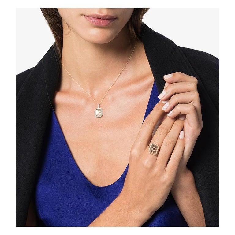Emerald Cut 14 Karat Gold Frame Crystal Quartz Secret Diamond Initial Ring For Sale