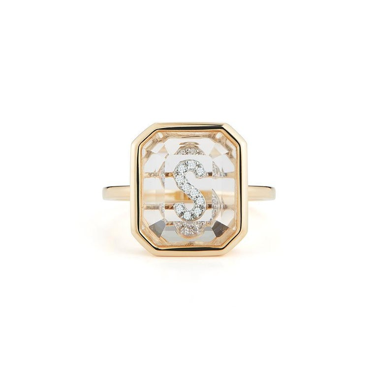14 Karat Gold Frame Crystal Quartz Secret Diamond Initial Ring In New Condition For Sale In Houston, TX