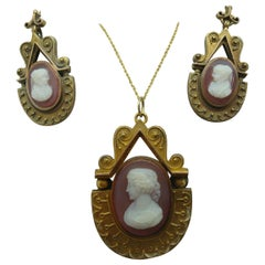 14k Gold Genuine Natural Stone Cameo Pendant and Earrings Set '#1040'