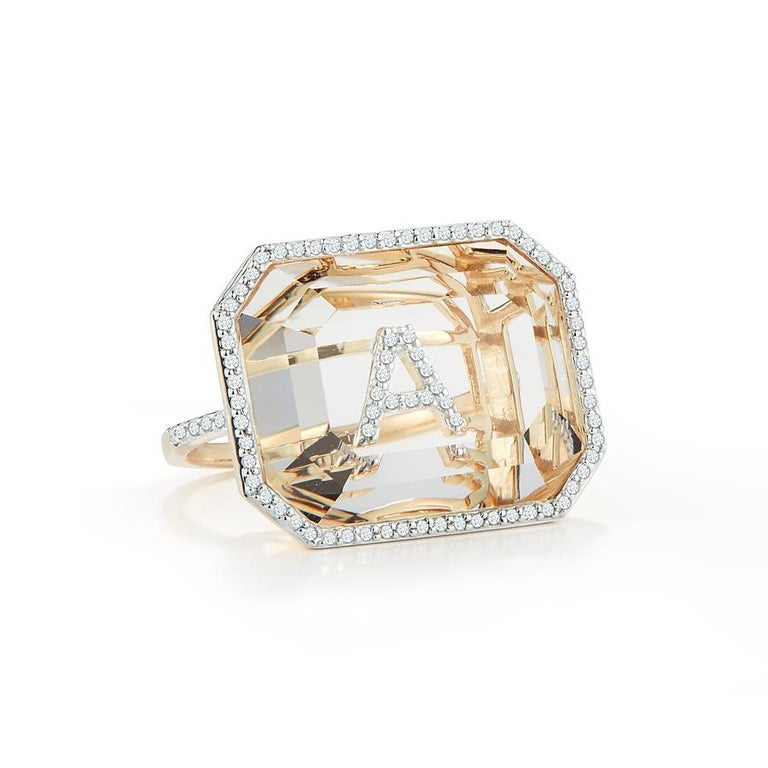 Emerald Cut 14 Karat Gold Grand Diamond Frame Crystal Quartz Secret Diamond Initial Ring For Sale