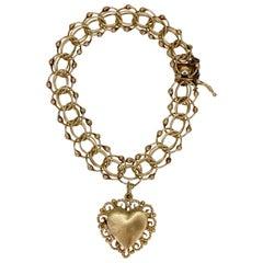14k Gold Heart Locket Bracelet