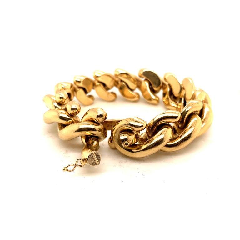 Women's or Men's 14 Karat Gold Italian Bracelet For Sale