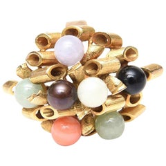 14K Gold, Jade, Amethyst, Coral, Black and White Onyx Cluster Dome Ring Vintage