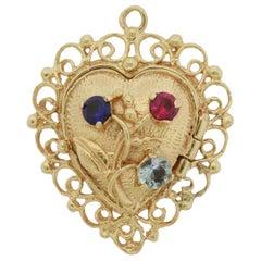 14K Gold Love Heart Photo Locket Pendant Charm for Bracelet Left Handed 6.9 Gr