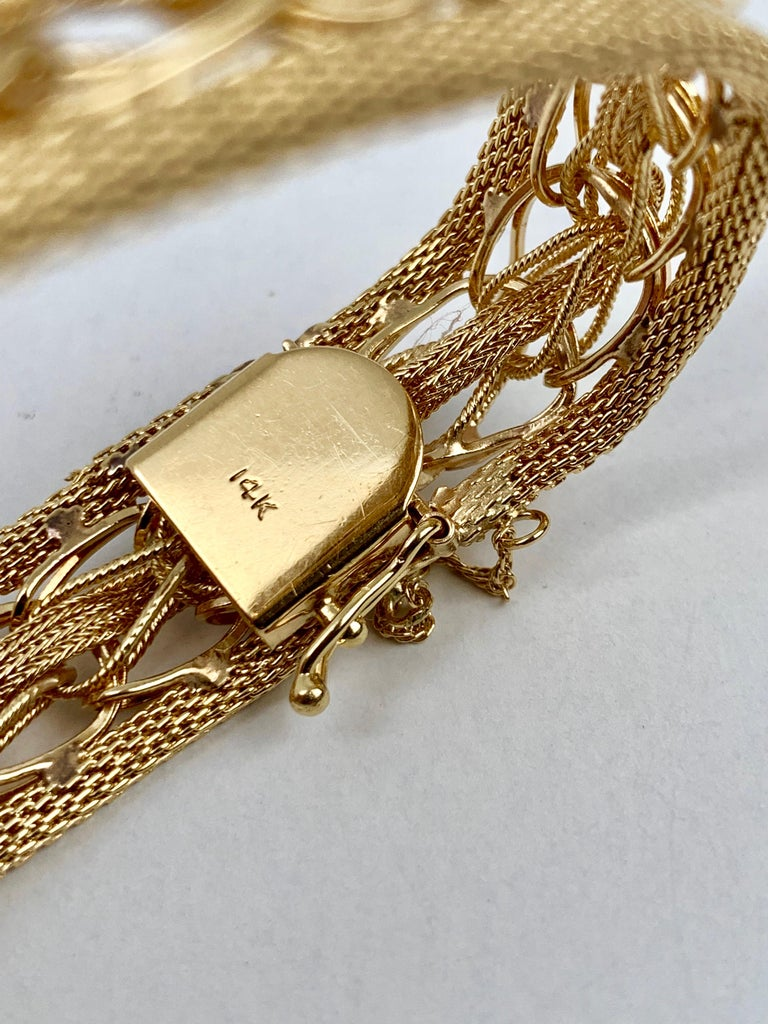 Women's  Mesh Bracelet-Finely Woven 14k Yellow Gold-1950s For Sale