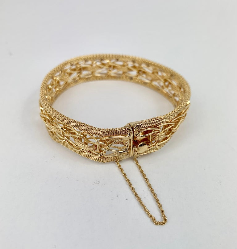 Mesh Bracelet-Finely Woven 14k Yellow Gold-1950s For Sale 3