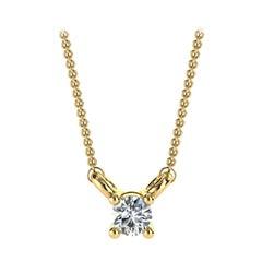14k Gold Minimalist Four-Prong Solitaire Diamond Pendant 'Center, 1/20 Carat'