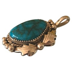 14k Gold Navajo Turquoise Set Pendant by Ray Bennet