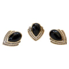 14k Gold Onyx Teardrop Earrings and Ring with Diamonds