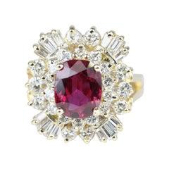 14k Gold Oval Burmese Ruby & Diamond Ring