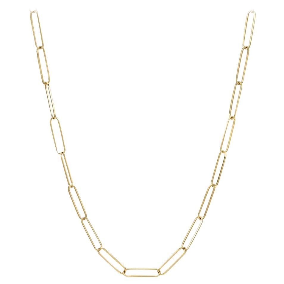 14 Karat Gold Paper Clip Chain Necklace