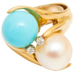 14 Karat Gold Pearl, Turquoise and Diamond Ring