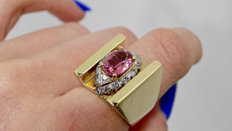 Women's or Men's  Pink Tourmaline & Diamond Cluster Ring  For Sale