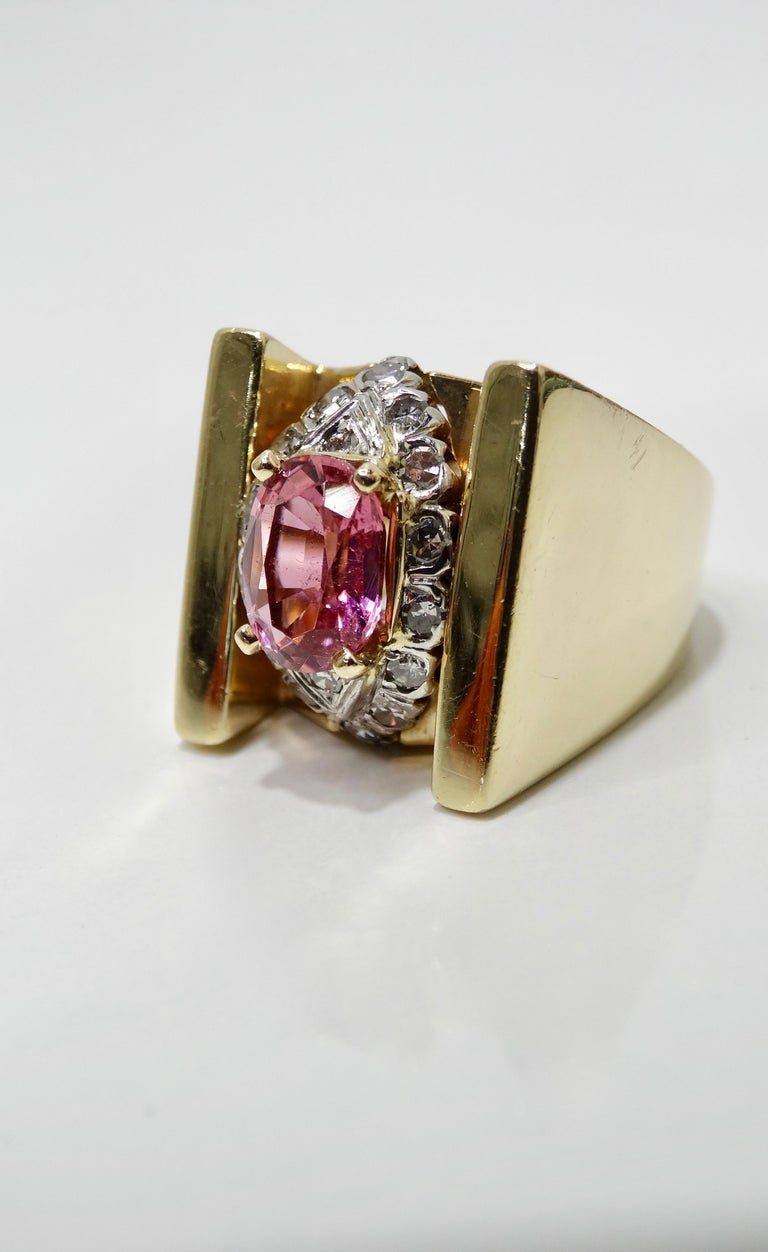 Pink Tourmaline & Diamond Cluster Ring  For Sale 2