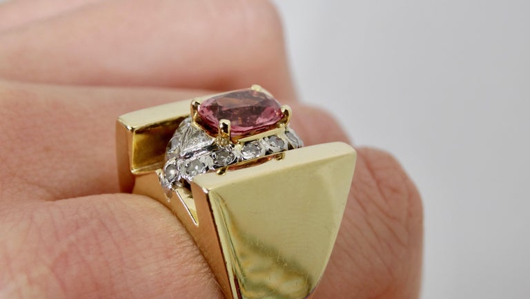 Pink Tourmaline & Diamond Cluster Ring  For Sale 3