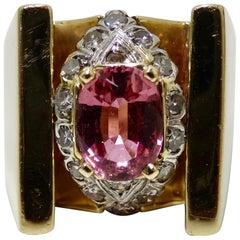 Pink Sapphire & Diamond Cluster Ring