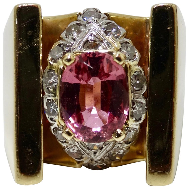 Pink Tourmaline & Diamond Cluster Ring  For Sale