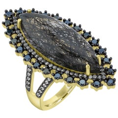 14k Gold-Plated Sterling Silver 10x28mm Marquise Black Rutile Cocktail Ring