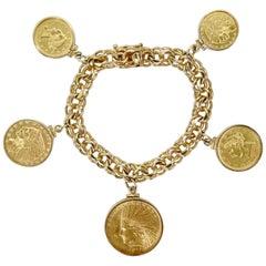 14k Gold Rare Vintage Coin Charm Bracelet