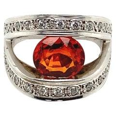 14k Gold Ring with 3.60 Carat Rare Orange Sapphire