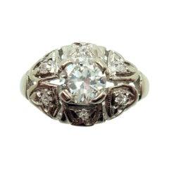 14k Gold Round .55ct Genuine Natural Diamond Ring with Small Diamonds '#J2867'