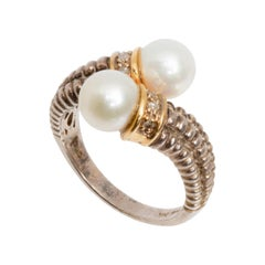 14K Gold Silver Pearl Bypass Ring