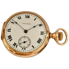 14 Karat Gold Small A.W.W. Co. Waltham Mass Pocket Watch
