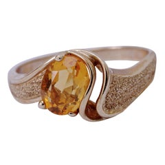 14K Gold Solitaire Oval Fire Opal Bypass Ring