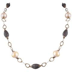 14 Karat Gold South Sea Pearl Diamond Antique Finish Chain Necklace
