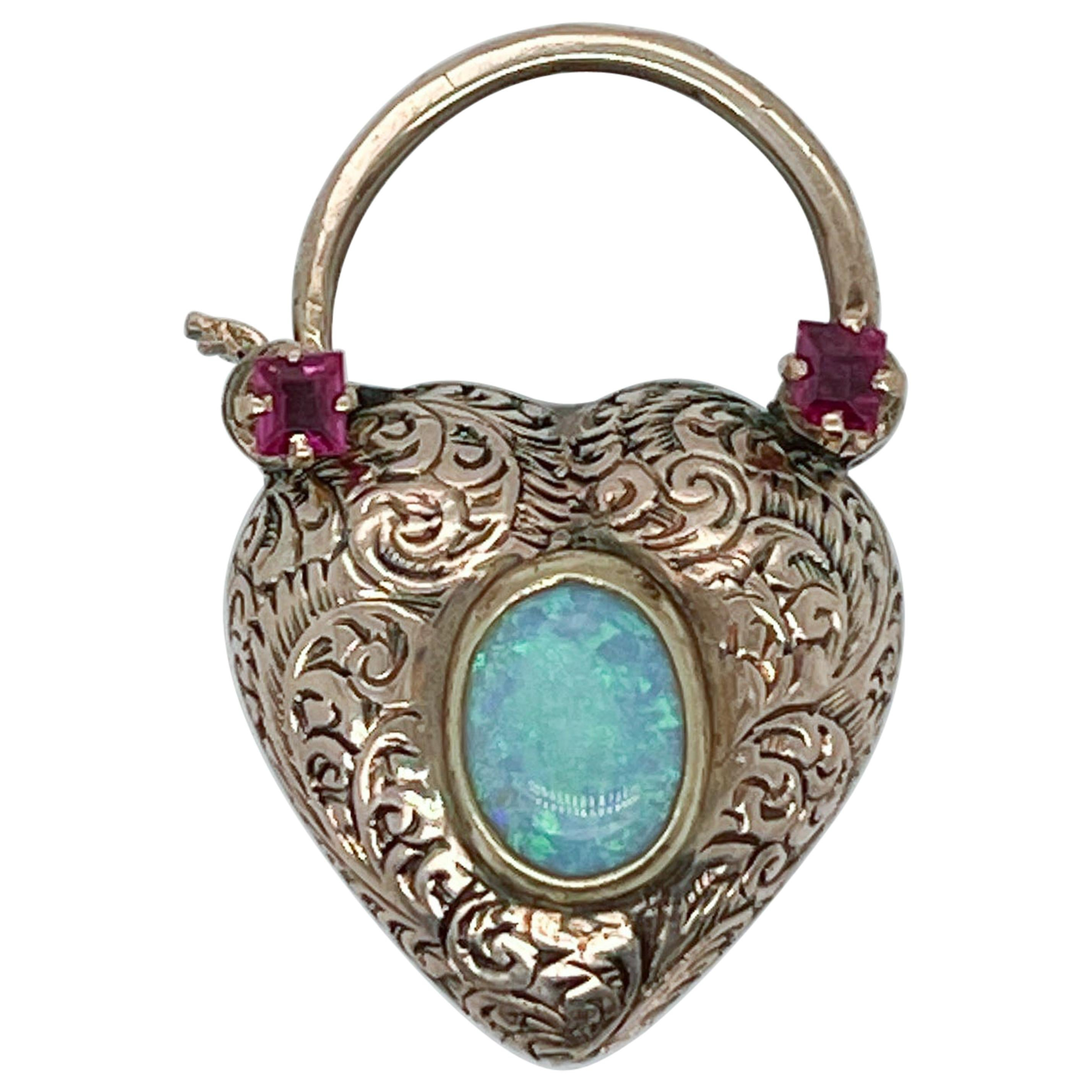 14k Gold, Turquoise, Opal & Garnet Heart Shaped Lock Charm or Pendant