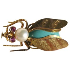 14k Gold Turquoise Pearl & Topaz Fly Insect Brooch