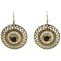 14K Gold Victorian Garnet Red Stone Dangle Earrings- Antique