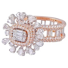 14 Karat Gold White Diamond Cocktail Ring