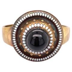 14k Gold White Enamel and Cabochon Garnet Bracelet