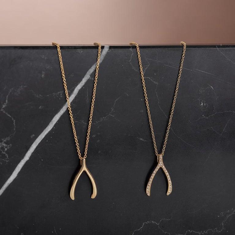 Modern 14 Karat Gold Wishbone Necklace For Sale