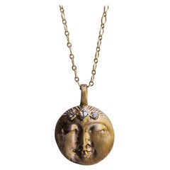 14k Gold with Champagne Diamonds Moon Face Necklace by Franny E