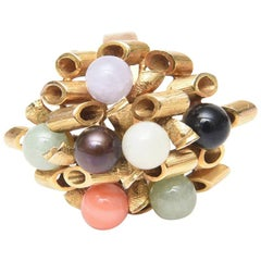 14K Gold with Jade, Amethyst, Coral, Black and White Onyx Cluster Dome Ring