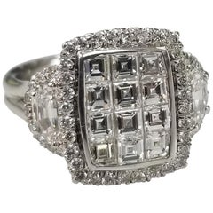 14K Invisible Set Asscher Cut with 2 Half Moon Cut Diamonds Set in 3-Stone Style