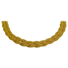 14K Italian Yellow Gold Braided Textured Chocker Necklace